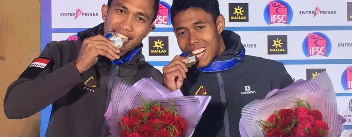 Aspar Jaelolo dan Rindi Sufrianto nrhasil meraih mdali perak dan perunggu pada IFSC Climbing Worldcup Series China nomor Men Speed World Record